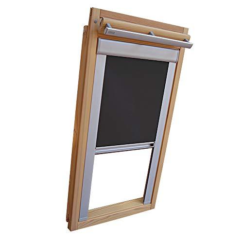 Verdunkelungsrollo THERMO Alu-Rückseite für BLEFA Dachfenster TYP BL/BSK - BL 34 (46,4 x 106,4 cm) - Farbe Dunkelgrau - mit Aluminium Seitenschienen