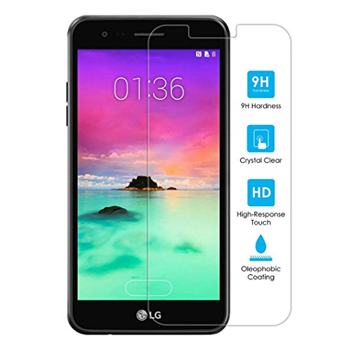 Kit Me Out it LG K10 (2017) in vetro temperato, Kmo, [custodia amichevole] Genuine durezza 9H, 0.26 mm ultra Clear HD trasparenza, 2.5d bordi lisci, rivestimento Oleophonic [Bubble libero]