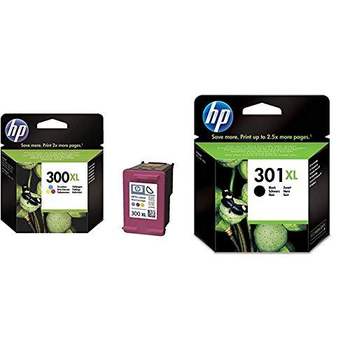 HP 300XL CC644EE, Tricolor, Cartucho de Tinta de Alto Rendimiento Original + 301XL CH563EE, Negro, Cartucho de Tinta de Alta Capacidad Original