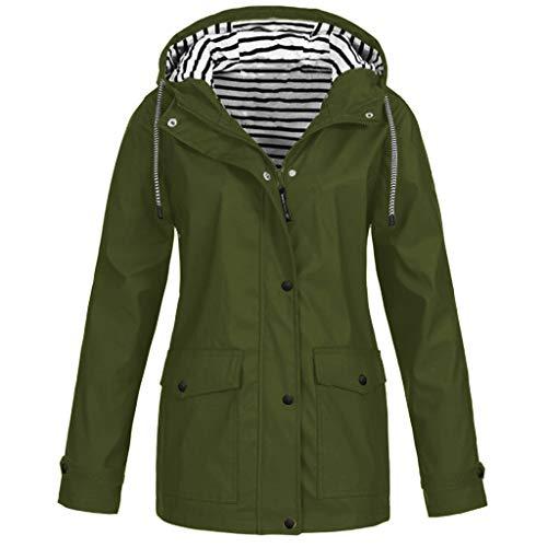 SHOBDW Mujeres de Manga Larga Suelta botón Trim Blusa de Color sólido Cuello Redondo túnica Camiseta (Ejercito Verde, XXL)