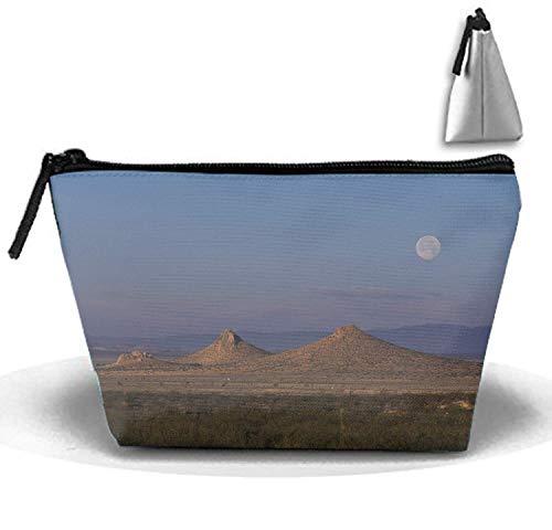 Moon Sky Desert Montagnes Sable Végétation Tops Voyage Cosmétique Sac Portable Trapézoïdal Strorege Sac Maquillage Sac à Main