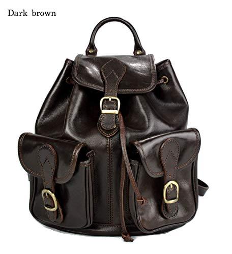 41hylSFgwfL - Mochila de piel marron oscuro mochila piel mochila hombre mujer mochila de viaje mochila de cuero mochila sport bolso de espalda piel