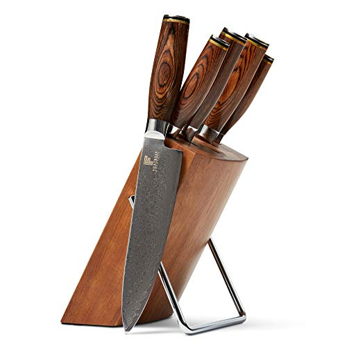 Fortress Damascus Kitchen Knife Set - 5 Professional Quality Knives - Pakkawood Handles - Comfortable Grip - Acacia Wood Block - Japanese Cutlery - Sharp Blade