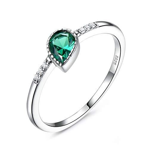 KnBoB Anillo Plata Esterlina Mujer 20 Esmeraldas de Imitación Verde