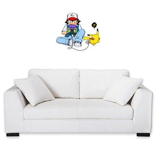Okiwoki Sticker Mural Pokémon parodique Sasha Ketchum et Pikachu : Batterie de Secours : (Parodie Pokémon)