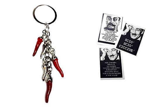 artigianale Recevez 2 porte-clés avec 5 cornes 2 et 3 cm environ métal et émail, 1 carte toto Fortuna Frase à surprise, bosbe main corne amulette Horn Charms Lucky gobbo ski napolitaine Napoli