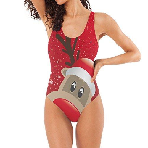 DragonSwordlinsu COOSUN vrouwen Kerstmis Rendier One-Piece Badpak Scoop Back Monokini Badkleding Badpak