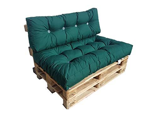 Cojin para palets cómodo, cojín para bancos (Juego de almohada, verde)