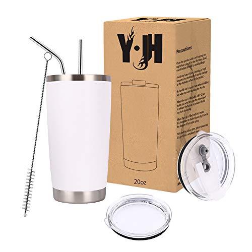 Y·J&H 20oz (550ml) Doppelwandig Vakuum Isolierter Autobecher, Edelstahl Reiseflasche, Thermobecher Kaffee to Go mit 2 Spritzfestem Deckel 2 Strohhalm, Rohrbürste,BPA Free - Weiß