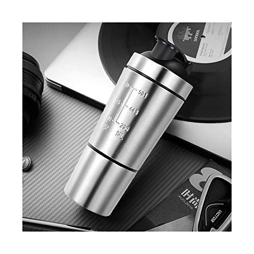 rongshengxinye Botella de agua desmontable de proteína de suero en polvo para botellas de agua, taza de acero inoxidable, mezclador de vacío para bebidas al aire libre (color plateado)