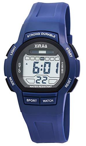 Xinjia Reloj de pulsera digital para hombre, azul, cuarzo, silicona, alarma, luz, cronómetro, fecha, estilo retro de los años 80