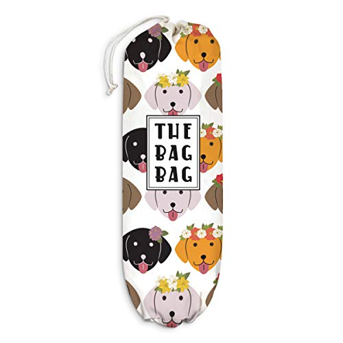 Fancy Floral Dogs Plastic Bag Holder Dogs Pattern Grocery Shopping Bags Carrier Storage Organizer Dispenser Dog Collective Home Decor Gift for Housewarming Dog Lover Extra Large(23' x 9')