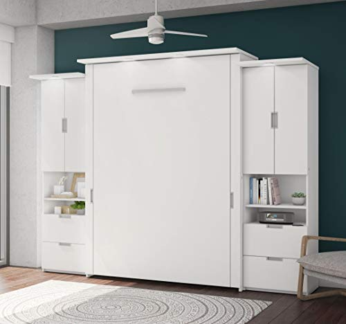 Bestar Queen Murphy Bed with Two Storage in White