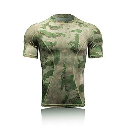 BERYLSHOP Camicia a Compressione a Manica Corta Camicia da Uomo a Maniche Corte a Compressione Mimetica Stampata da Uomo (Colore : AT, Size : M)