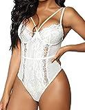 Women's Sexy Eyelash Lace Bodysuit Naughty Teddy Lingerie White