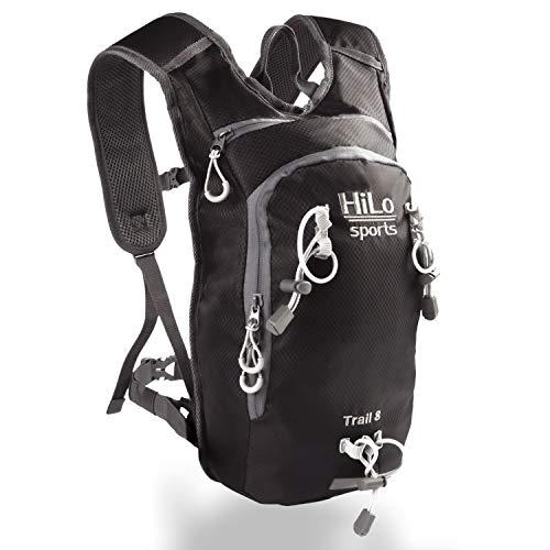 HiLo sports Trinkrucksack Trail 8 Liter - Radrucksack klein mit Platz für 2 Liter Trinkblase - Wasserabweisender Fahrradrucksack - MTB Rucksack Sport - Fahrrad Rucksack (schwarz)