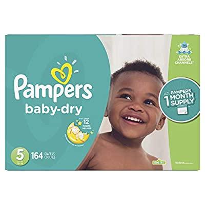 Diapers Size 5, 164 Count - Pampers Baby Dry Disposable Baby Diapers, ONE MONTH SUPPLY (Packaging May Vary)
