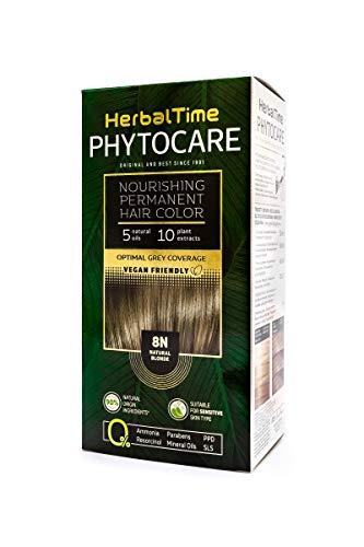Phytocare Tinte permanente y nutritivo para cabello sin amoniaco, sin PPD, sin SLS, sin parabenos Color Rubio Natural 8N
