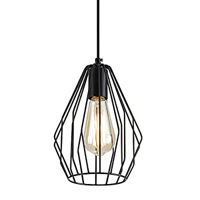 Fivess Lighting Industrial Metal Cage Pendant Light, One-Light Rustic Mini Pendant Lighting Fixture for Kitchen Island Dining Room Farmhouse, Black