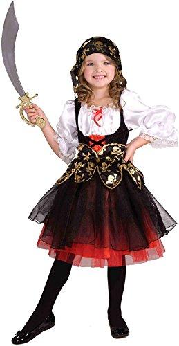 Tante Tina Piratenkostüm Mädchen - 2-teiliges Piratenkostüm für Mädchen mit Kleid und Kopfband - Schwarz / Weiß / Rot - Größe S ( 116 ) - geeignet für Kinder von 3 bis 5 Jahren