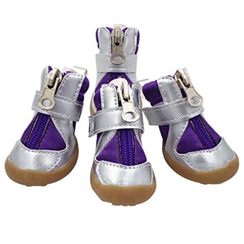 AMURAO Frühling Herbst Zipper Pet Schuhe für Teddy Chihuahua Puppy Stiefel PU wasserdicht Regen Hunde Schnee Booties