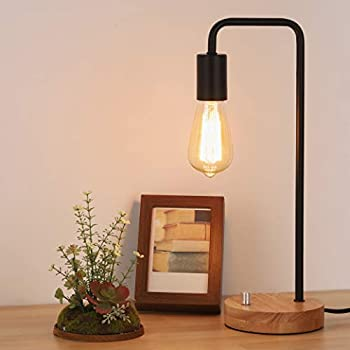 Industrial Desk Lamp with Wooden Base Modern Table Lamp Vintage Night Stand Lamp for Living Room Bedroom Office Coffee Table College Dorm