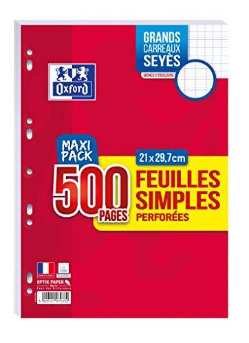Oxford Lot de 500 Pages Feuilles Simples Perforées A4 (21 x 29,7 cm) 90 g Grands Carreaux Seyès - Maxi Pack 400019083