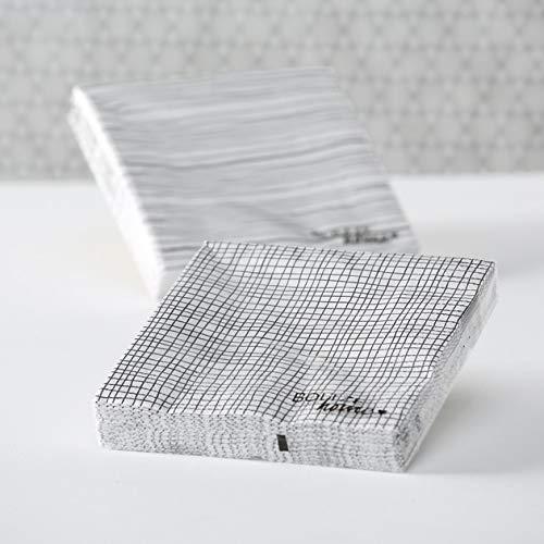 Bloominghome Servietten weiß/schwarz 2er-Set Papierservietten 33 x 33 cm