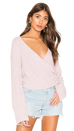 Free People Womens Faux Wrap Cropped Pullover Sweater Purple M