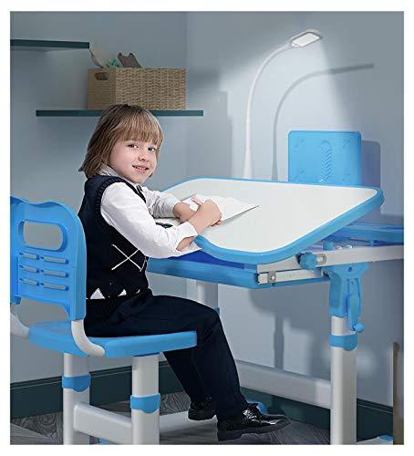 RUIMI Bureau Ergonomique Bureau pour Enfant Réglable Hauteur avec Inclinaison avec Une Chaise et Lampe,Bureau D'étudiant avec Chaise Ensemble de Bureau et Chaise,for Apprendre/S'Amuser