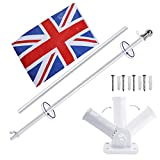 Display4top 6ft Aluminium Flag Pole Kit With Adjustable 180 Degree Wall Bracket + 1PC Flag (UK flag)