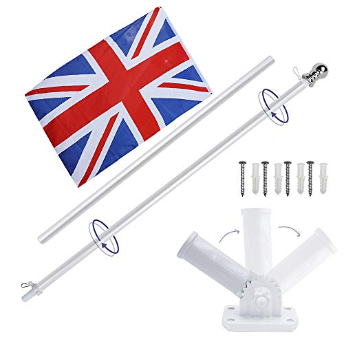 Display4top 6ft Aluminium Flag Pole Kit Mit Einstellbarer 180 Grad Wandhalterung + 1 STÜCK Flagge (UK Flag)