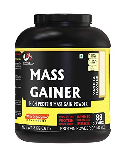 Advance MuscleMass Mass Gainer with Enzyme Blend | 7.15 G Protein | 23.46 G Carbs | Lab tested | Made from Whey Protein only | Raw Whey from USA | Vanilla Flavour | 3 Kg / 6.6 lb