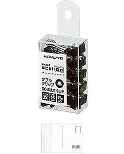コクヨ ダブルクリップ Scel-bo 個箱タイプ 豆サイズ 口幅15mm 10個 黒 クリ-J36D 『 2セット』 + 画材屋ドットコム ポストカードA