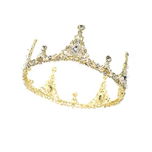 QFF Q Corona de Flores Bohemio Corolla Diadema Corona de Oro Tocado de la Boda Retro Europeo Cristal Corona Accesorios de cumpleaños F