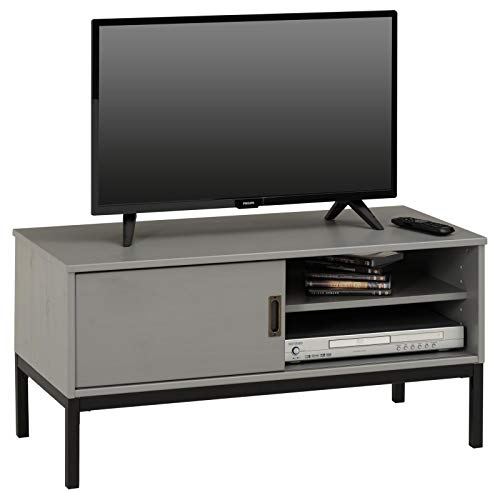 IDIMEX Lowboard TV Möbel Selma, Fernsehtisch Fernsehschrank im Industrial Design mit 1 Schiebetür 1 offenes Fach, Kiefer massiv, grau