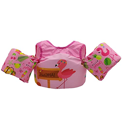 Silfrae Swim Vests Swim Floatation Vest Flotation Device Kids Floaties for Pool Weighing from 30 to 50 lbs(Pink Flamingo)