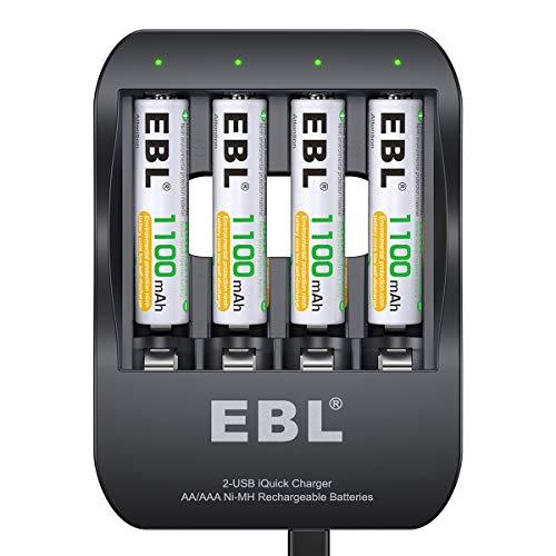 EBL AAA Akku mit Akkuladegerät - 40Min USB Fast Charger für NI-MH wiederaufladbare AAA AA Batterien mit 4X AAA Akkus 1100mAh, AAA Batteien mit Ladegerät Set