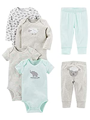 Simple Joys by Carter's Baby 6-Piece Neutral Bodysuits (Short and Long Sleeve) and Pants Set, Gray Lamb, 3-6 Months