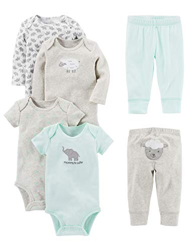 Simple Joys by Carter's Baby 6-Piece Neutral Bodysuits (Short and Long Sleeve) and Pants Set, Gray Lamb, 0-3 Months