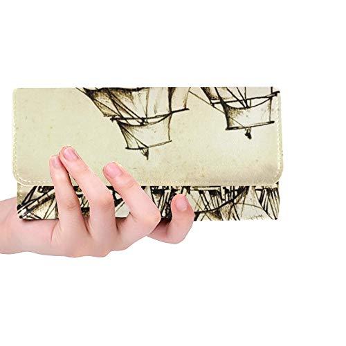 JOCHUAN Einzigartige benutzerdefinierte antike Boot Sea Motive Zeichnung handgefertigt Stock Illustration Frauen Trifold Brieftasche lange Geldbörse Kreditkarteninhaber Fall Handtasche