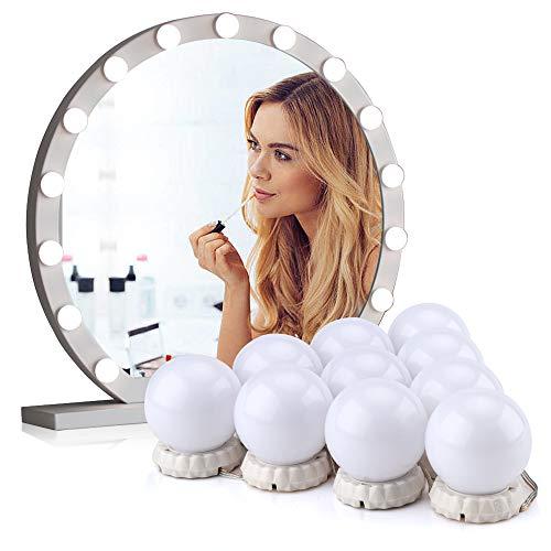 LED Spiegelleuchte, Schminktisch Beleuchtung, 10 LED Schminklicht Stil Dimmbar, Spiegellampe USB-Kabel Make up Licht Spiegel Lichter für Kosmetikspiegel Schminktisch Leuchte Licht