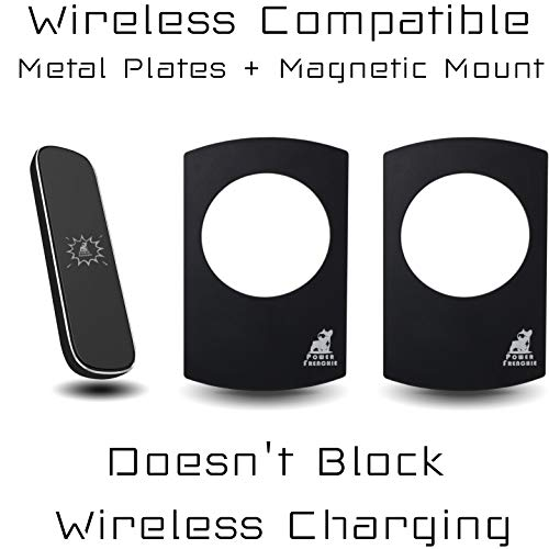 Magnetic Phone Mount with Wireless Charging Compatible Metal Plates | Contains Strongest Magnets on The Market | Sleek Slim Profile | Home, Office, Car | Ultra Strong Peel of Backing | Black