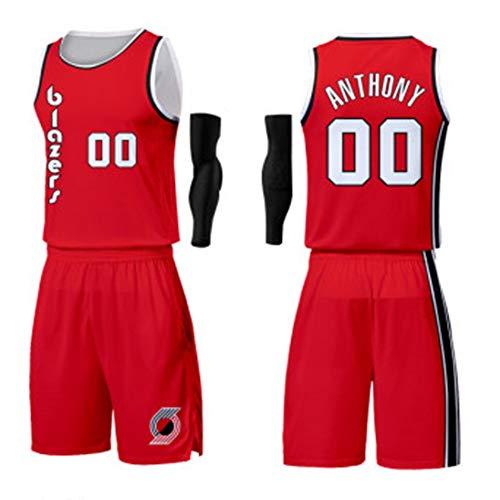 00# Carmelo Antraciet Basketbal shirt voor kinderen - Portland Trail Blazer Unisex Training Wear Athlete's Jersey Mesh sneldrogende mouwloze fans sweatshirt