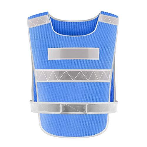 La seguridad Chaleco reflectante Chaleco de tráfico Ropa de seguridad Coche Coche Noche Montar Ropa reflectante Ligero (Color : Blue)