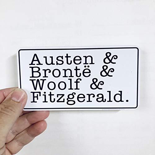 Lplpol Pegatinas de vinilo para parachoques de Austen, Bronte, Woolf, & Fitzgerald...