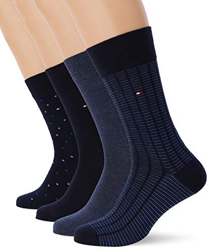 Tommy Hilfiger TH Men SS19 GIFTBOX 4P Chaussettes, Bleu (Dark Navy 322), 39/42 (Taille Fabricant:039) (Lot de 4) Homme