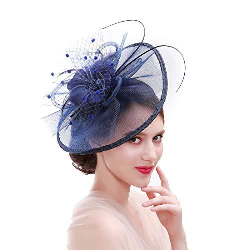 ASKEN Frauen Cocktail Fascinator Haar Pillbox Hut Feder Kopfschmuck Tea Party Hochzeit Kirche Headwear Navy Blau
