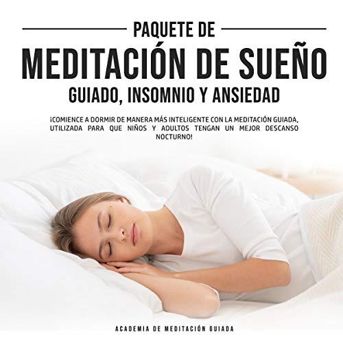 Diseño de la portada del título Paquete de Meditación de Sueño Guiado, Insomnio y Ansiedad