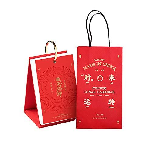 N \ A Calendario Escritorio Chinos Año Nuevo 2021 Calendario Escritorio Grande para el Año Lunar del Buey,11x5x18cm,Estilo Chino Calendario 2021 Takenote para El Año del Buey